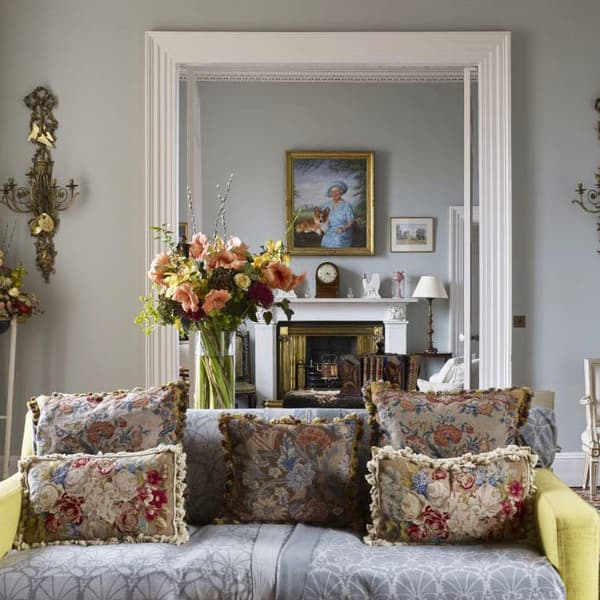Castle of Mey Chelsea Textiles Royal Family Needlepoint cushions – Golden urn with carnations & peonies