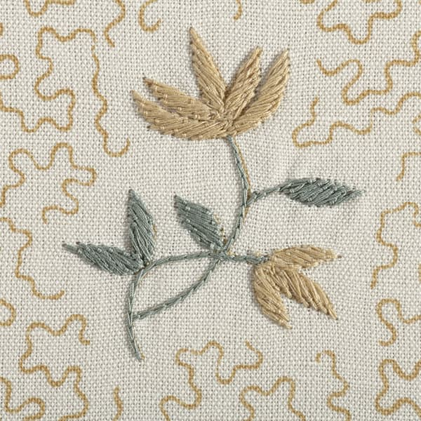 FP3615 FY Detail1 – Wild flower on printed squiggles in faded yellow
