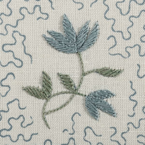 FP3616 AB Detail1 – Wild flower on printed squiggles in antique blue