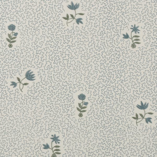 FP3616 AB1 – Wild flower on printed squiggles in antique blue