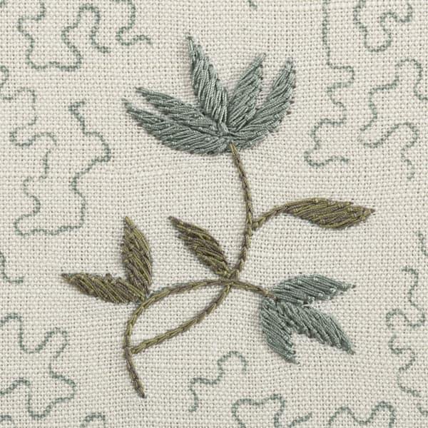 FP3617 BG Detail1 – Wild flower on printed squiggles in blue green