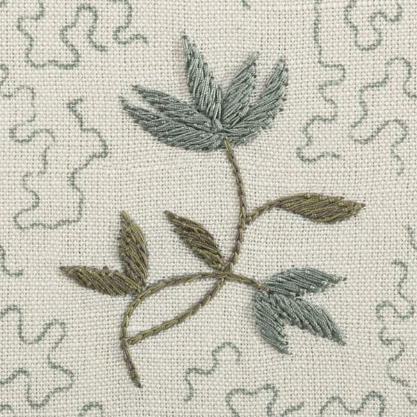FP3617 BG Detail1 – Wild flower on printed squiggles in blue green
