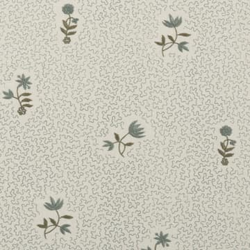 Wild flower on printed squiggles in blue green