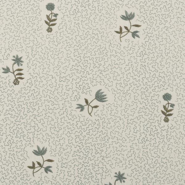 FP3617 BG1 – Wild flower on printed squiggles in blue green