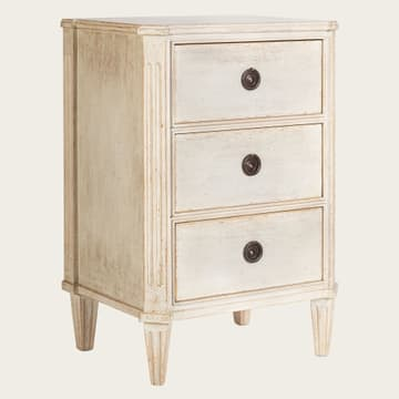 Bedside table with three drawers