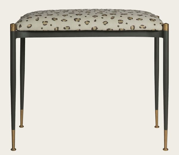 Mid020 Snuggle – Stool with metal frame & brass trim