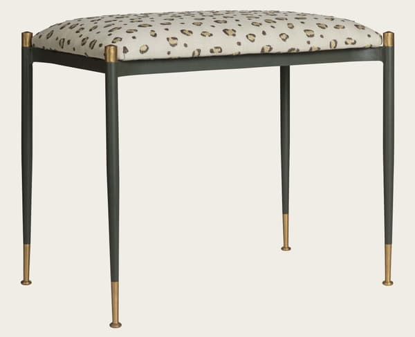 Mid020A Snuggle – Stool with metal frame & brass trim