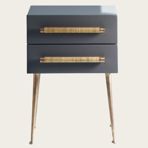 MID039 ALQ 25 – Bedside table two drawers & wicker handles