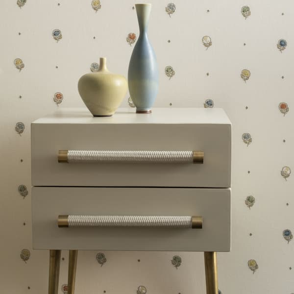 MID039 A 11 FN024 L – Bedside table two drawers & wicker handles