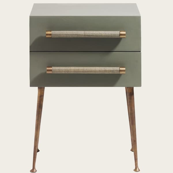 MID039 A 13 – Bedside table two drawers & wicker handles