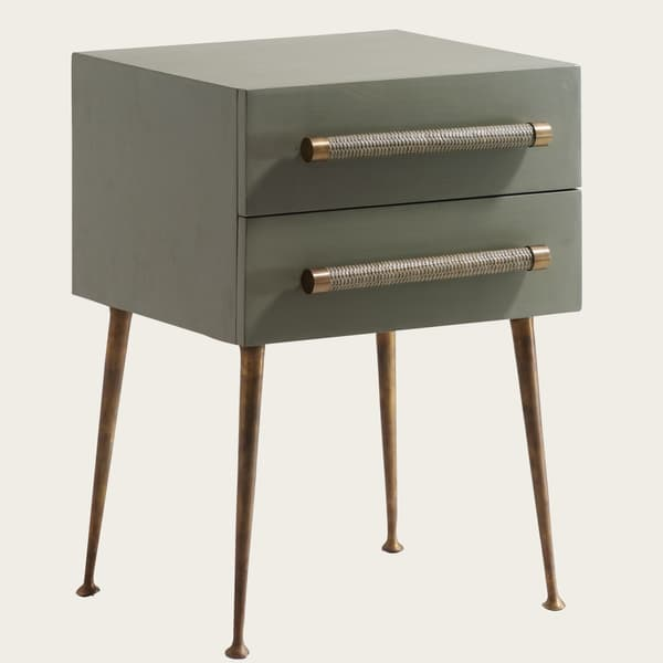 MID039 A 13a – Bedside table two drawers & wicker handles