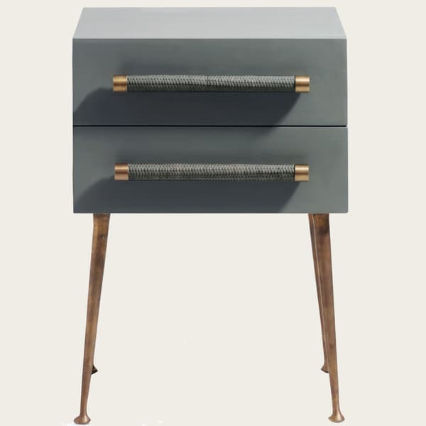 MID039 A 14 – Bedside table two drawers & wicker handles