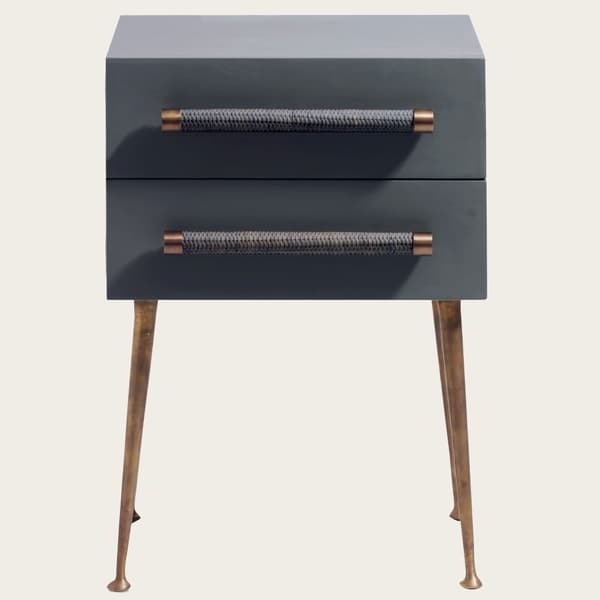 MID039 A 18 – Bedside table two drawers & wicker handles