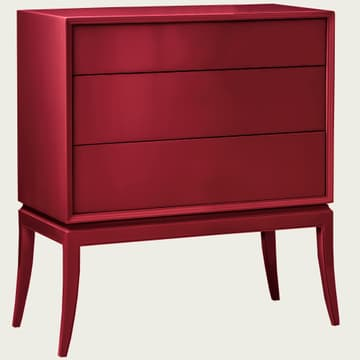 Chest of drawers in lacquer crimson
