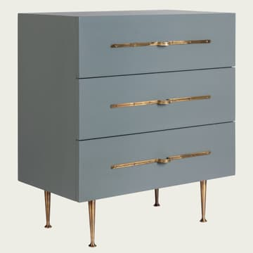 Small chest of drawers with brass handles in almond