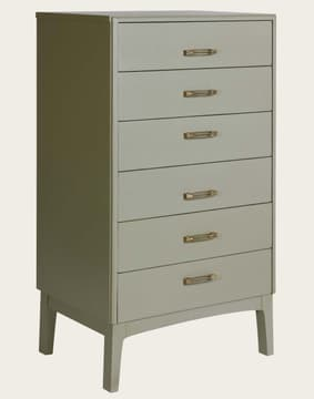 Tall chest of drawers with slit handles
