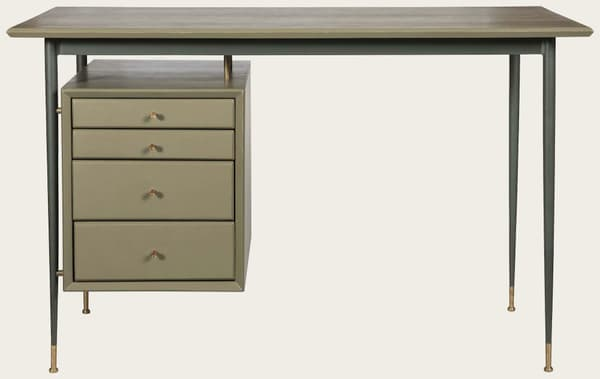 Mid076 13 – Desk with metal frame & brass trim