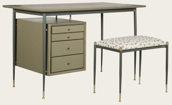 Mid076 13 Mid020 – Desk with metal frame & brass trim