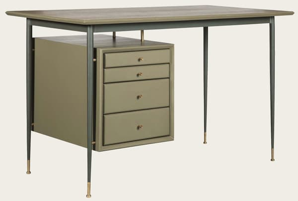 Mid076 13A – Desk with metal frame & brass trim