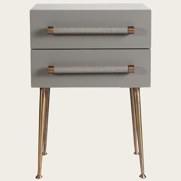 Mid039 A 19 – Bedside table two drawers & wicker handles