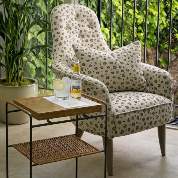 Rattan Side Table And Leopard Armchair – Armchair