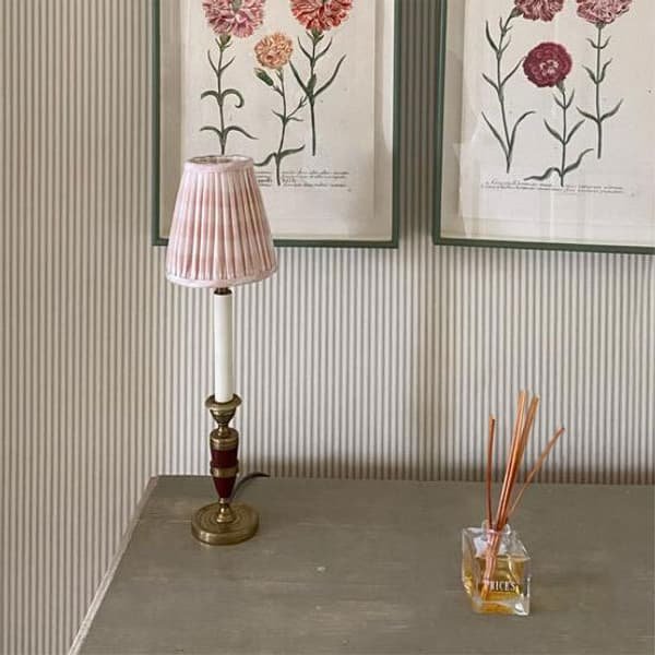 Candle Lampshade Pale Pink Chelsea Textiles – Candle Lampshade in Small Check Pale Pink