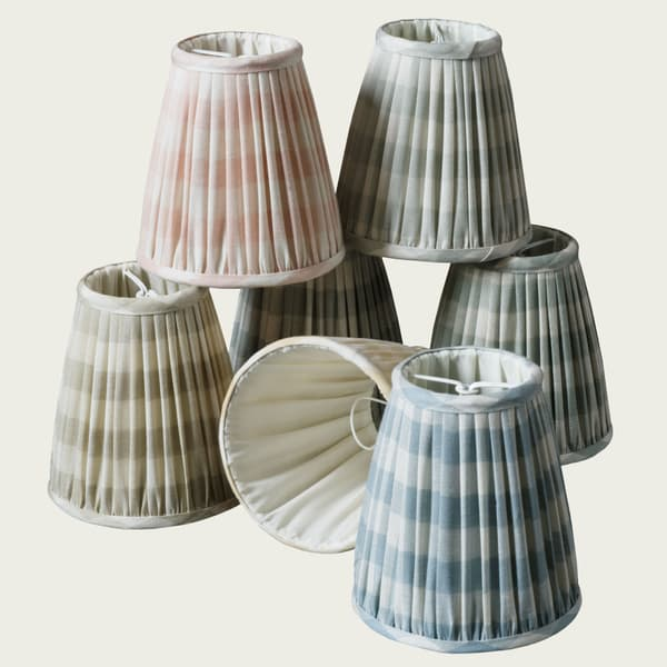 Candle Lampshades – Candle Lampshade in Small Check Faded Yellow