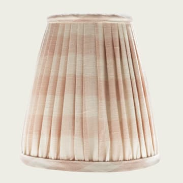 Candle Lampshade in Small Check Pale Pink