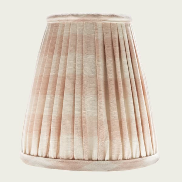 LS1 FC1003 – Candle Lampshade in Small Check Pale Pink