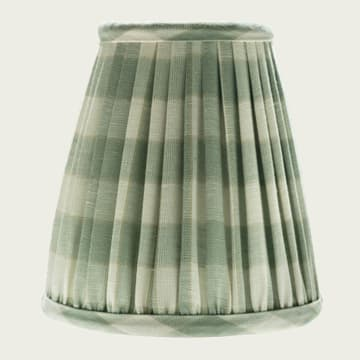 Candle Lampshade in Small Check Green Accent