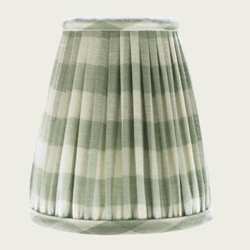 Candle Lampshade in Small Check Blue Green