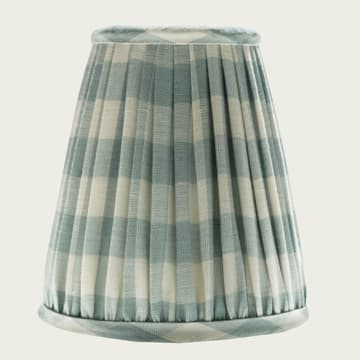 Candle Lampshade in Small Check Antique Blue