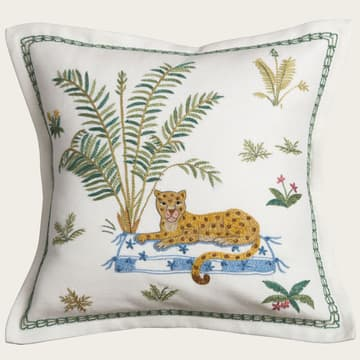 Seated leopard & palm
