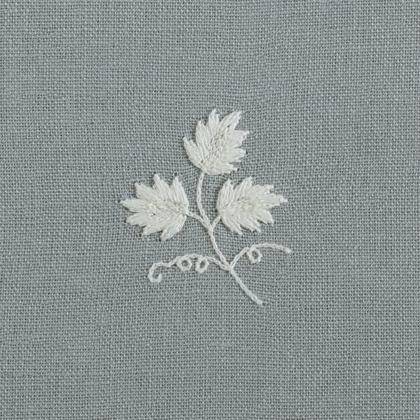F199 WB Detail 2 – Sprigs & Leaves White on Blue