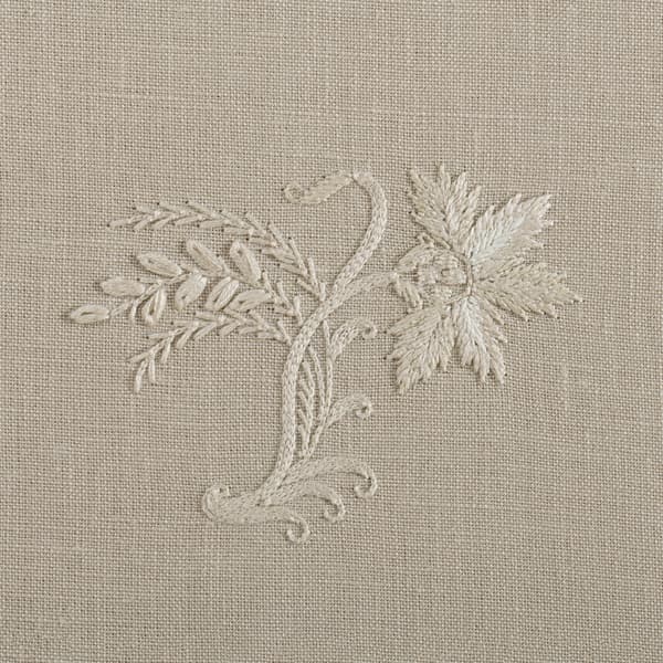 F267 WD Detail 2 – Stockholm Sprig Off white on Clay