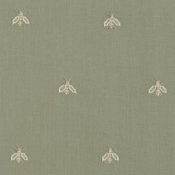 F268 WG Detail 1 – Napolean bees off white on green