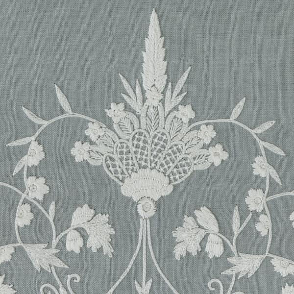 B194 WB Detail 1 – Sprigs & Leaves White on Blue