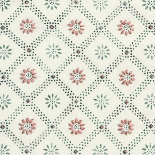Fp3000 P Detail – Daisy trellis in indigo with pink