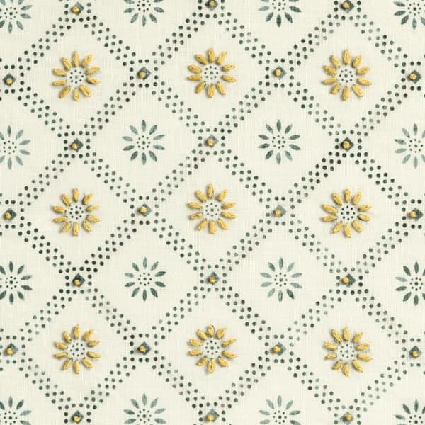Fp3000 Y Detail – Daisy trellis in indigo with gold