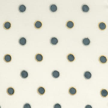 Dots in indigo with sun in seafoam/gold