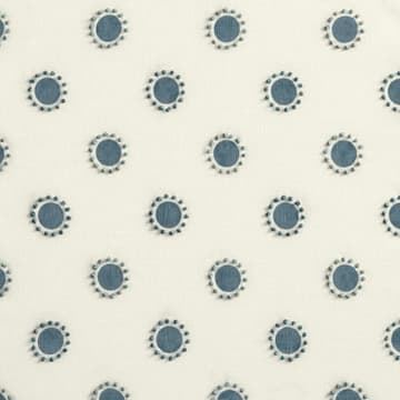 Dots in indigo with french knots in indigo/seafoam