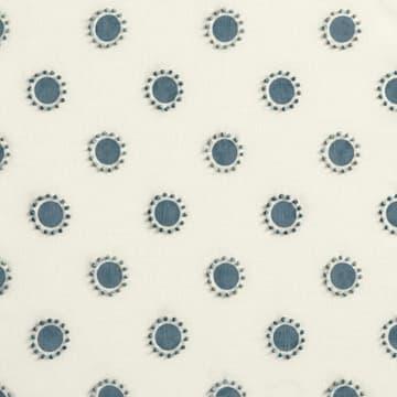 Dots in indigo with french knots in indigo/seafoam