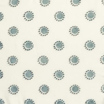 Dots in seafoam with french knots in seafoam