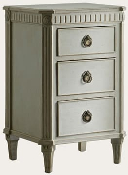 Bedside table with fluted carving