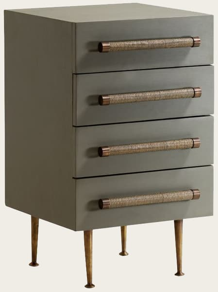 Bambou Sml 4 V2 – Bedside table four drawers & wicker handles