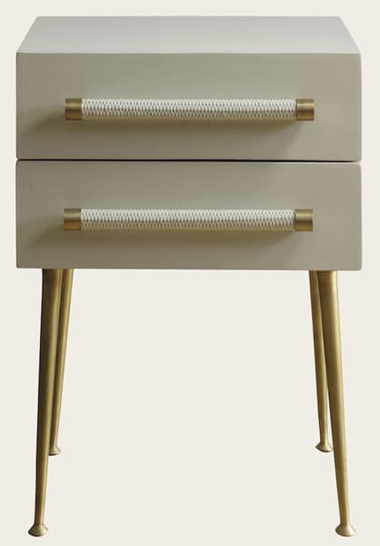 Mid039A 11 – Bedside table two drawers & wicker handles