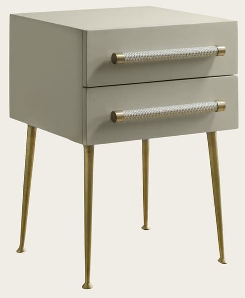 Mid039A 11A – Bedside table two drawers & wicker handles