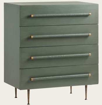 Chest of drawers with wicker handles