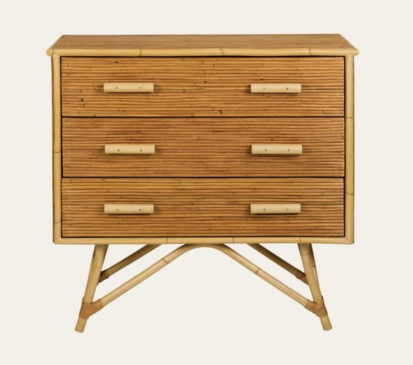 Tro041 – Split cane bamboo chest of drawers
