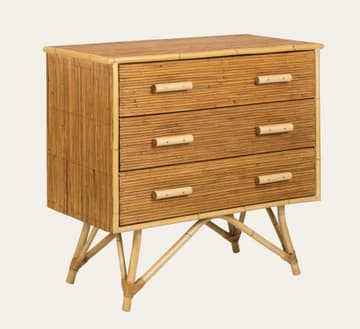 Split cane bamboo chest of drawers